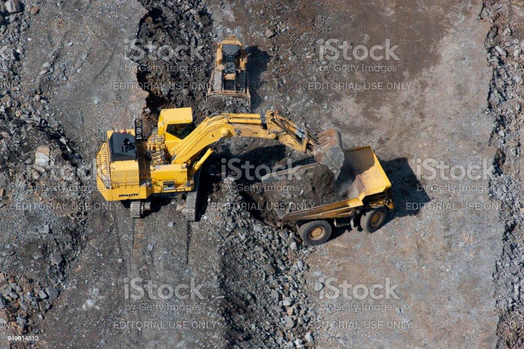 aerial of highway construction equipment Corridor H northern West...