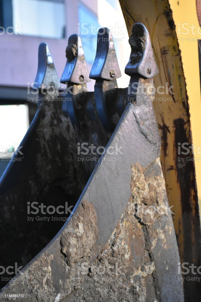 Construction Equipment Scoop with Dirt stock photo