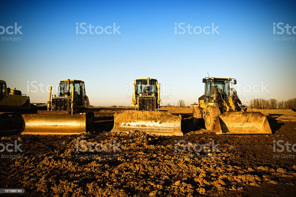 Construction Equipment Vehicles From Below stock photo