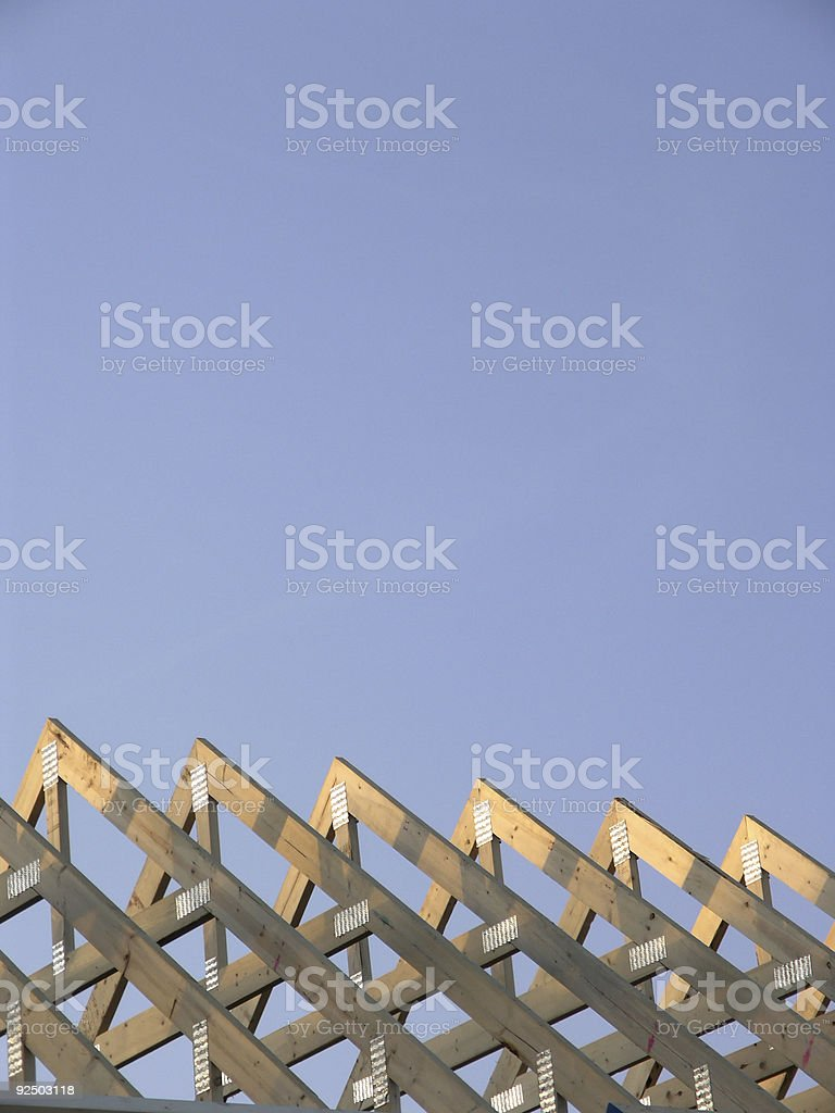 Construction - Exposed Rafters on House Vertical royalty-free stock photo