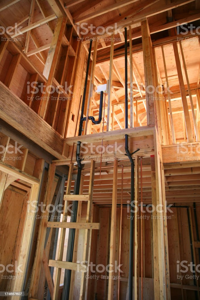 Construction Framing and Plumbing royalty-free stock photo