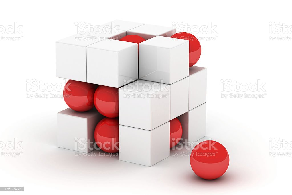 construction from red and white elements royalty-free stock photo