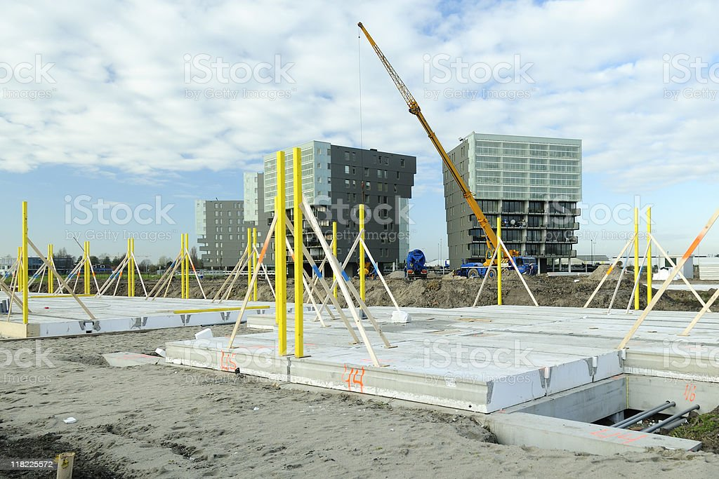 Construction going on with cranes stock photo