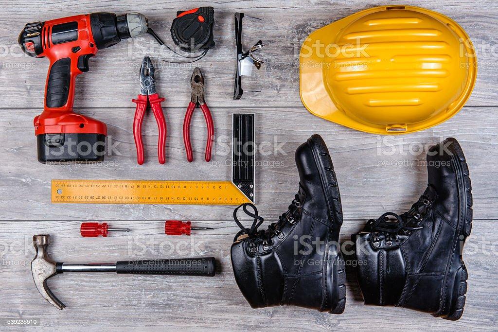 Construction hand tools flat lay royalty-free stock photo