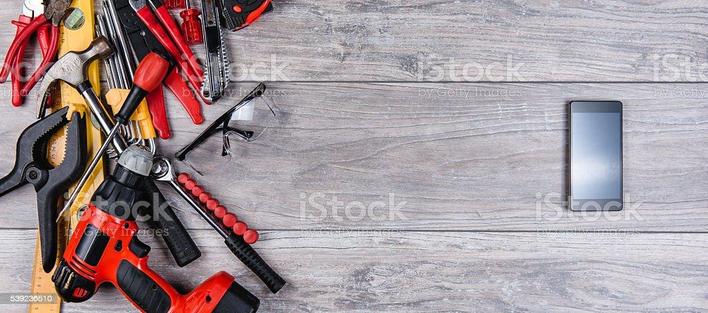 Herramientas manuales de construcción plana laico foto de stock libre de derechos