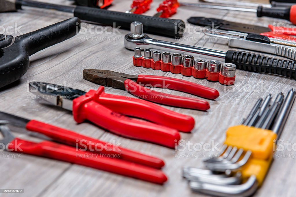 Construction hand tools flat lay royalty-free stock photo