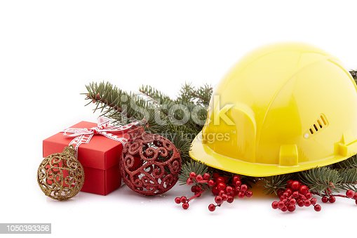 istock Construction hard hat and Christmas. 1050393356