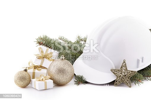 istock Construction hard hat and Christmas. 1050393424