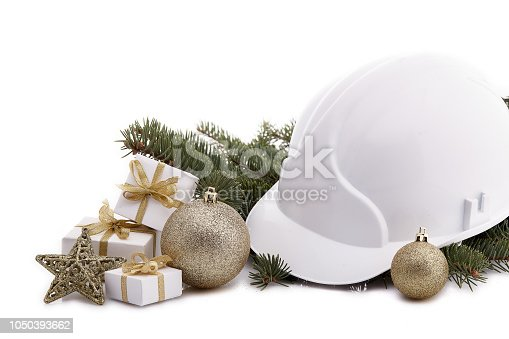 istock Construction hard hat and Christmas. 1050393662