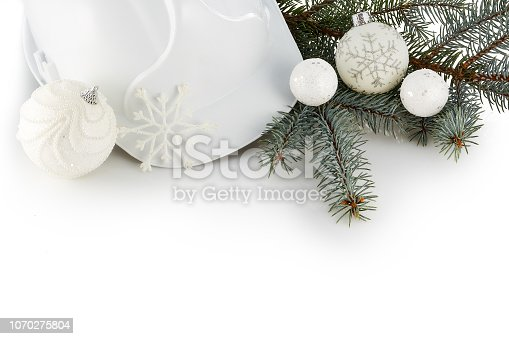 istock Construction hard hat and Christmas. 1070275804