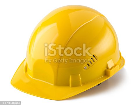 construction helmet, yellow, isolated, white background
