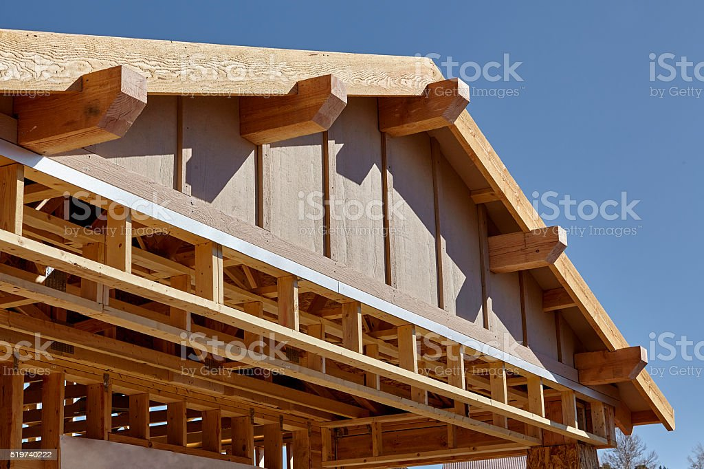 Construction Home Building Carpentry Gable Roof Framing Detail Stock ...
