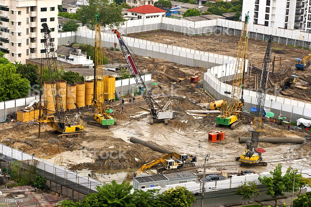 Construction in bird eye view stock photo