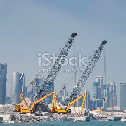Construction work in Doha, Qatar.