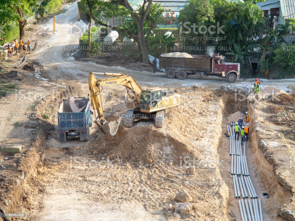 Construction in progress for foundations of hotel development