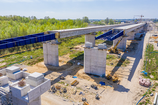 Construction in progress of a mass rapid transit line - Highway. Aerial view