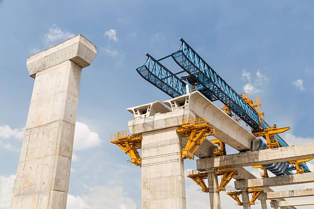 construction in progress of a mass rapid transit line - bridge stok fotoğraflar ve resimler