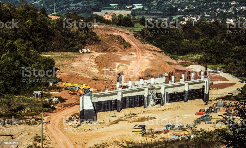 Construction in progress of a mass rapid transit line