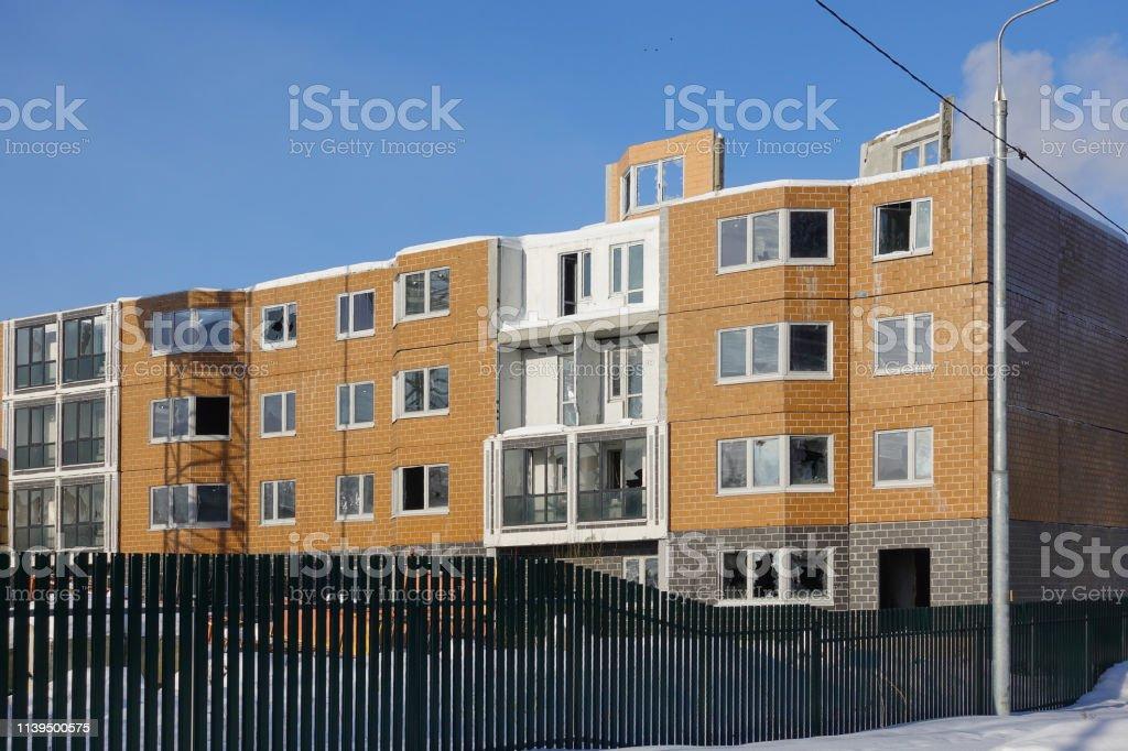 Construction in progress. Residential multi-storey building.