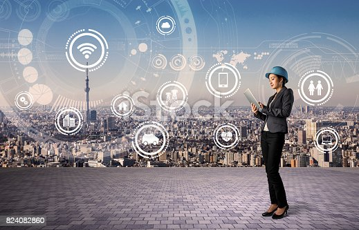 istock construction industry and internet technology concept. IoT(Internet of Things). Smart Factory. Industry4.0 824082860