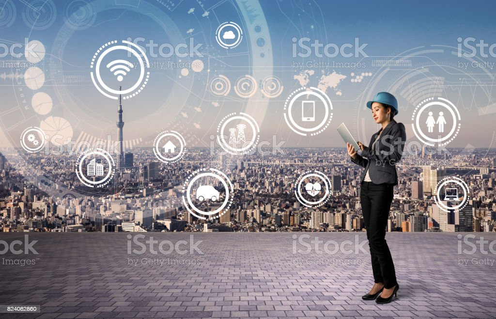 construction industry and internet technology concept. IoT(Internet of Things). Smart Factory. Industry4.0 stock photo
