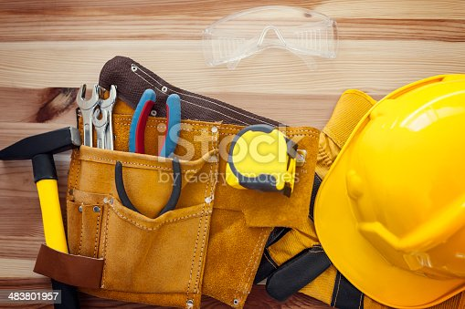 istock Construction instrument on wood 483801957