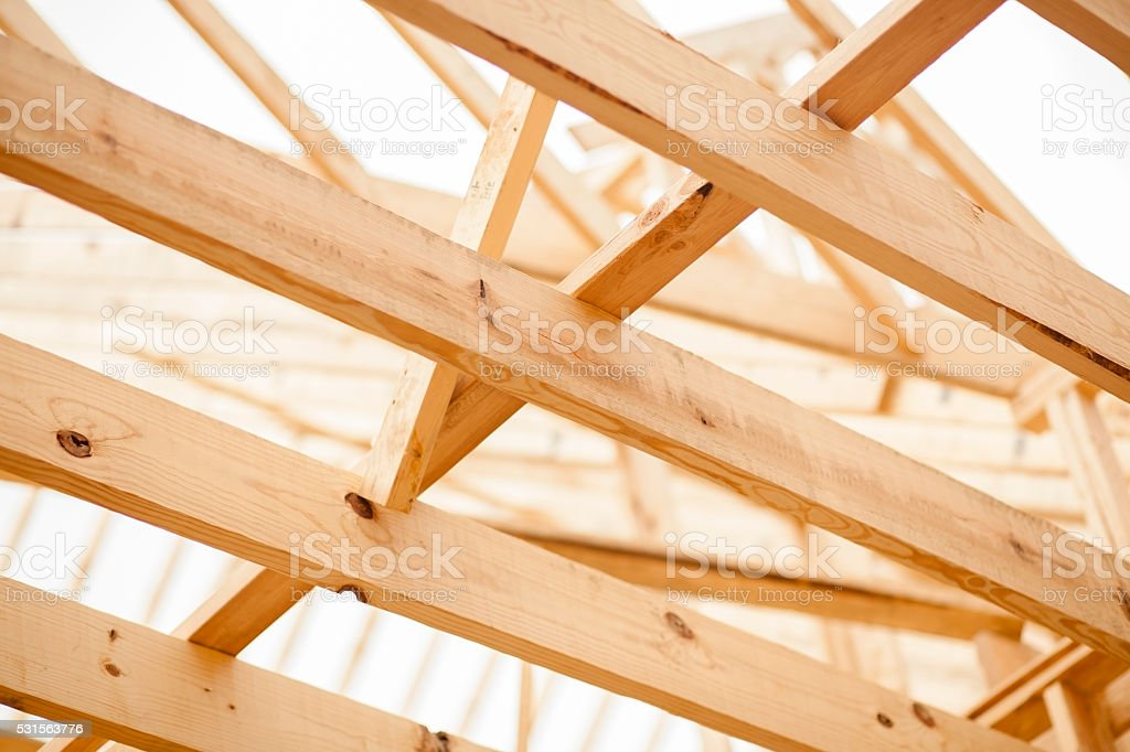 Construction job site. Framed building.  No people. stock photo