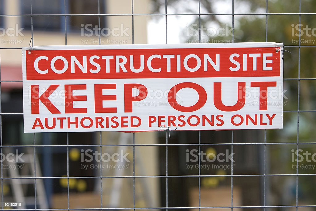 Construction keep out sign royalty-free stock photo