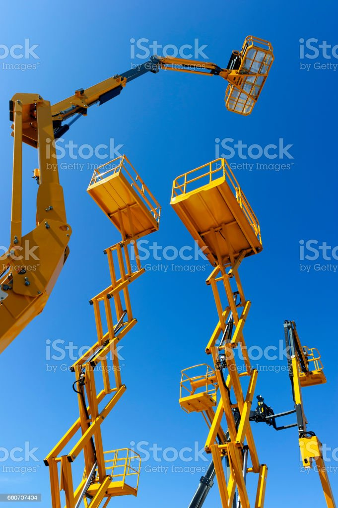 Construction lift platforms stock photo