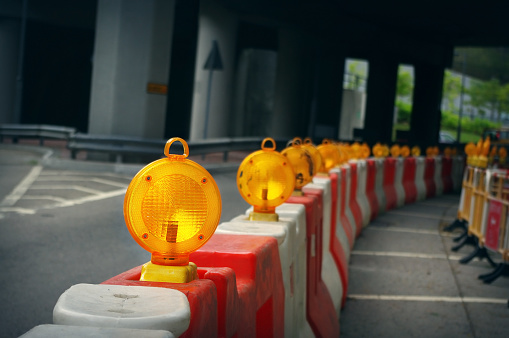 Construction light on the city road