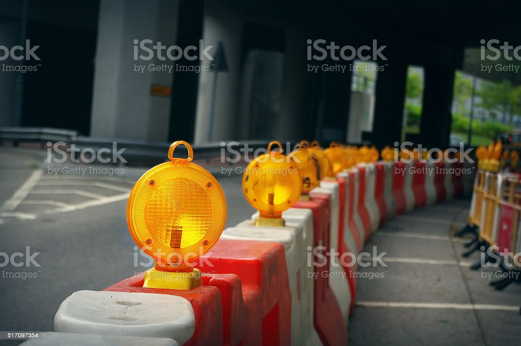 Construction light on the city road stock photo