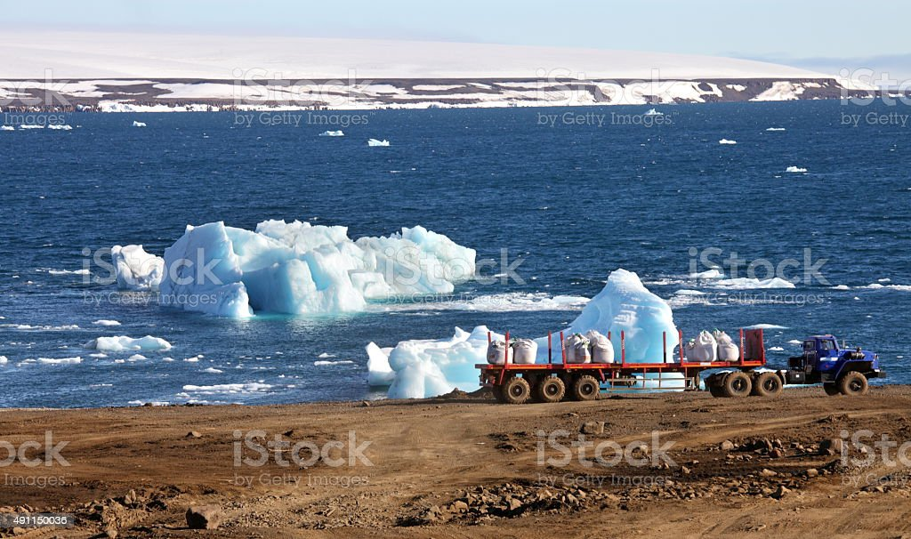 Construction machinery in Arctic stock photo