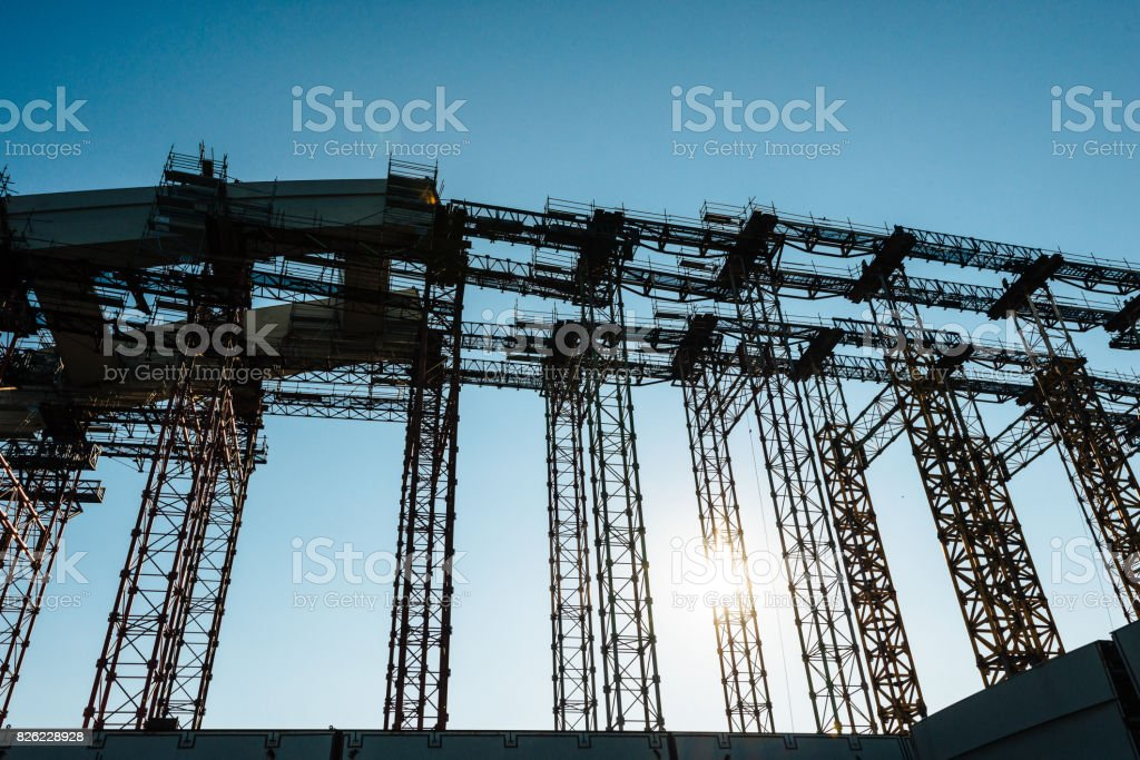 Construction machinery on construction site stock photo