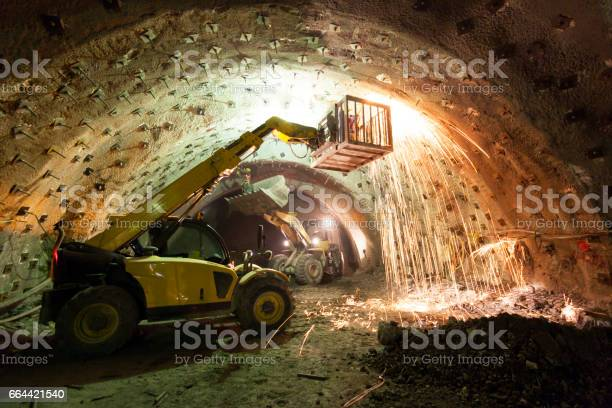 Construction Machinery Working in Tunnel Construction