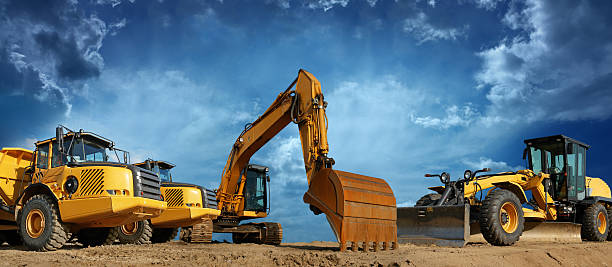 Construction Machines Ready to Work  construction machinery stock pictures, royalty-free photos & images