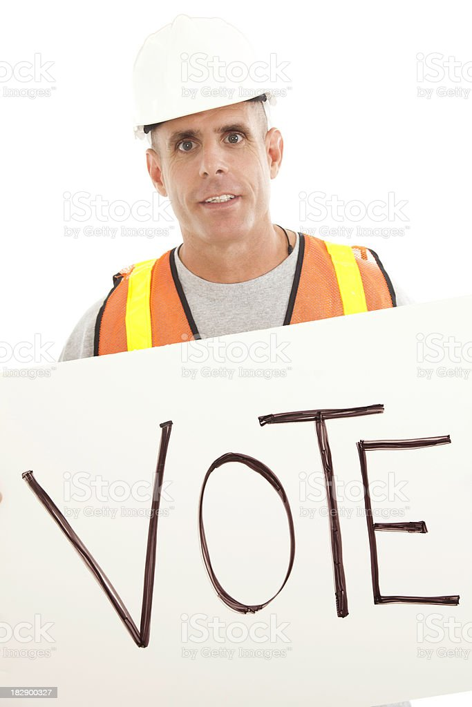 Construction Man Holding Vote Sign royalty-free stock photo