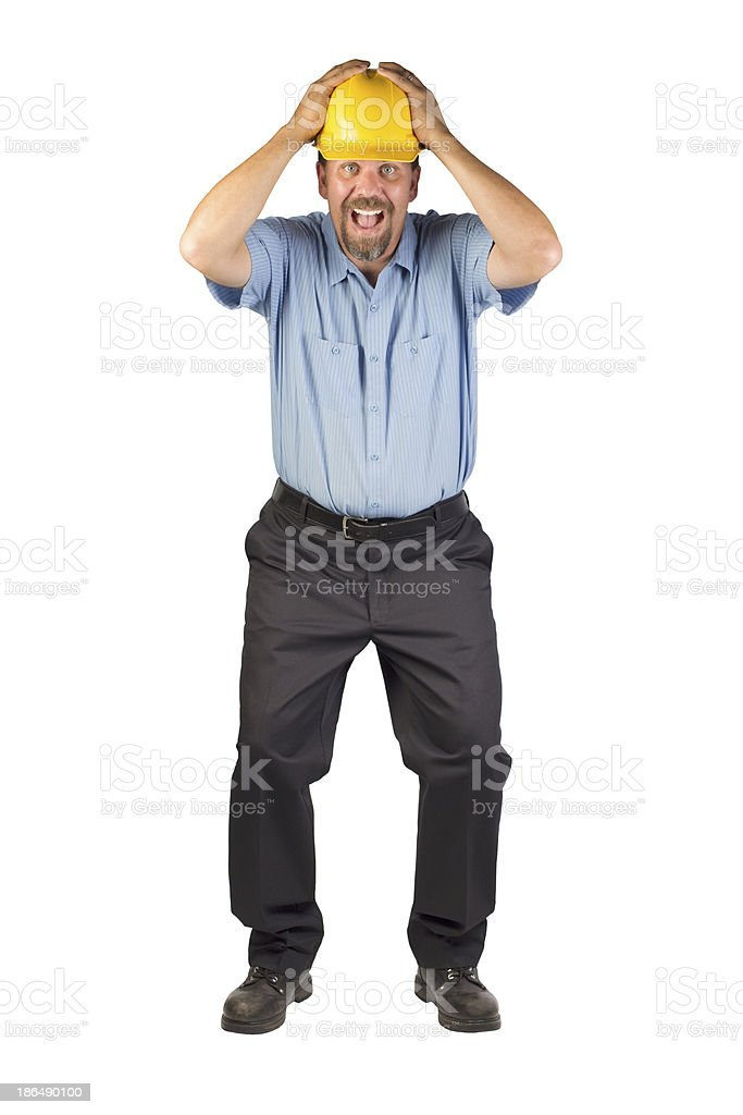 Construction Man Taking Cover stock photo