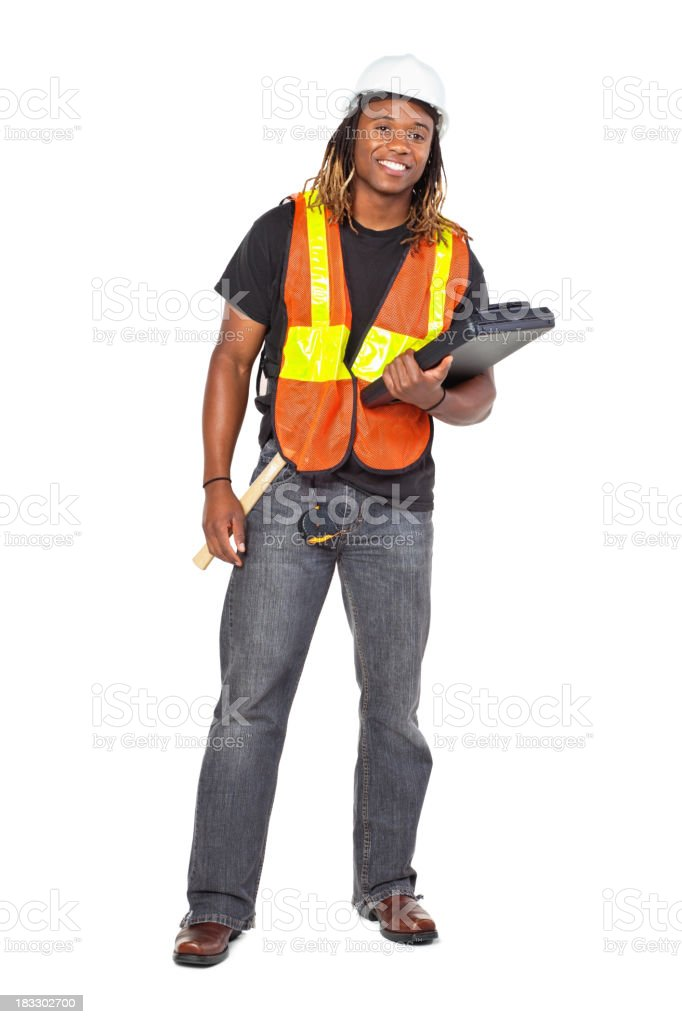Construction Man With Clipboard, Isolated on White stock photo