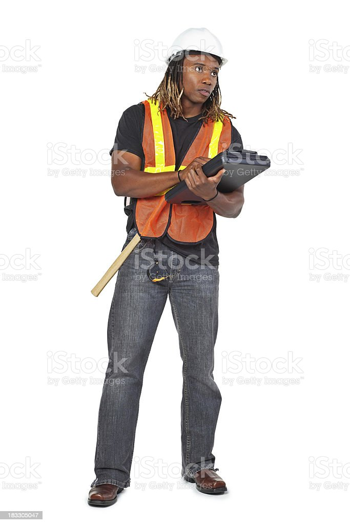 Construction Man Writing and Looking Up, Isolated on White stock photo