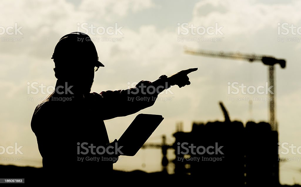 Construction manager and digial tablet royalty-free stock photo
