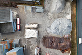 Construction material depot - aerial view