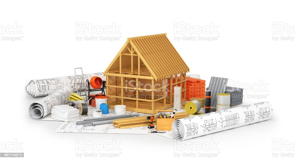 Construction materials, building of a wooden frame placed on the rolls of drawings isolated on white. 3D illustration stock photo