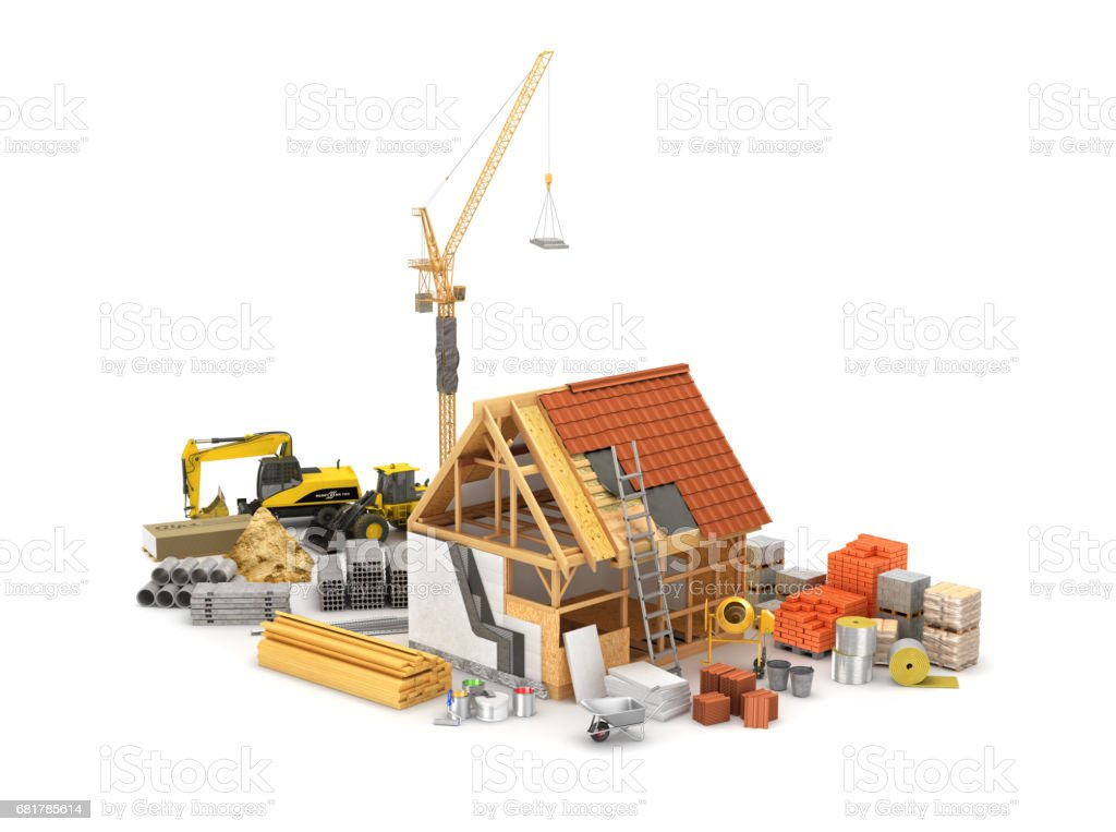 Construction materials, construction of houses of timber frame and its insulation. 3D illustration stock photo