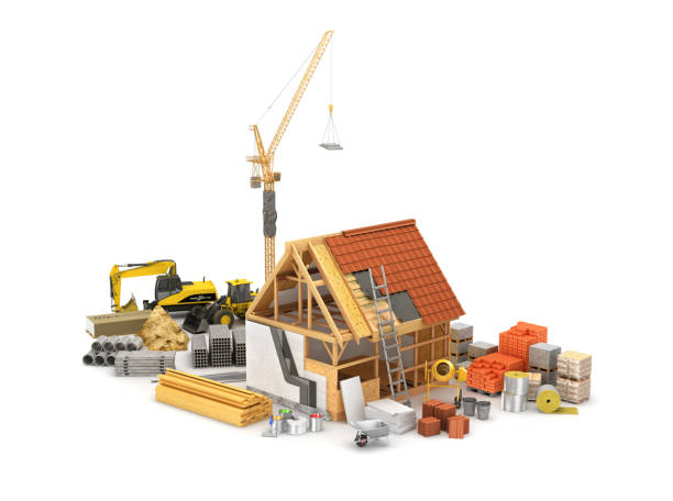 construction materials, construction of houses of timber frame and its insulation. 3d illustration - construction material stock photos and pictures