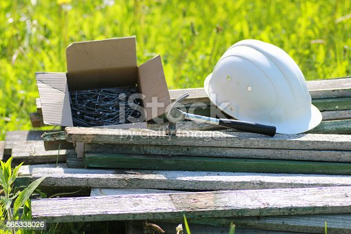 istock Construction materials on the grass 865338026