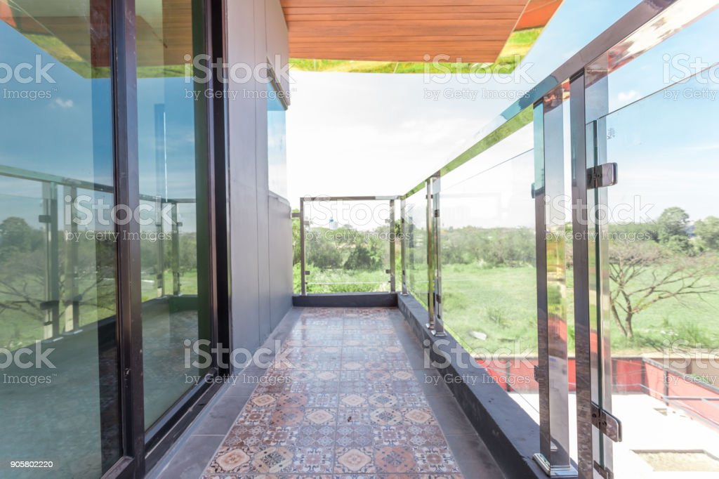 Construction modern protection tempered glass stock photo
