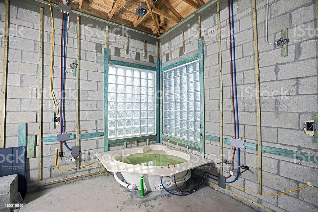Konstruktion Installation Neuer Badezimmer Mit Whirlpool Stock ...