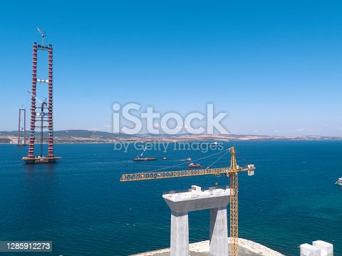 Construction of 1915 Canakkale Bridge, Aerial View, Canakkale, Turkey