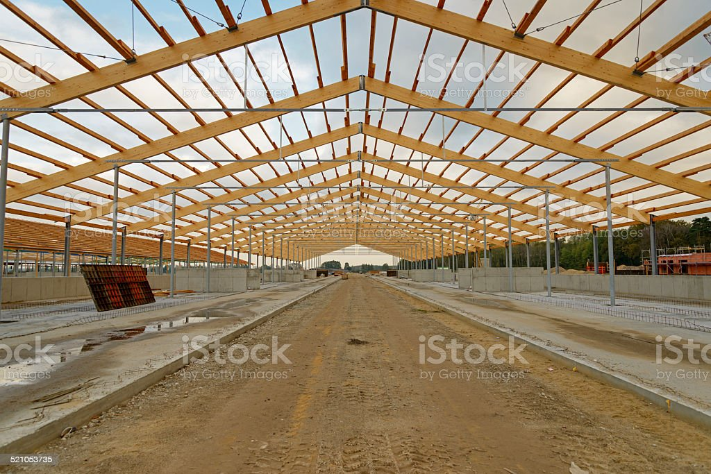 Construction of a factory farming system stock photo