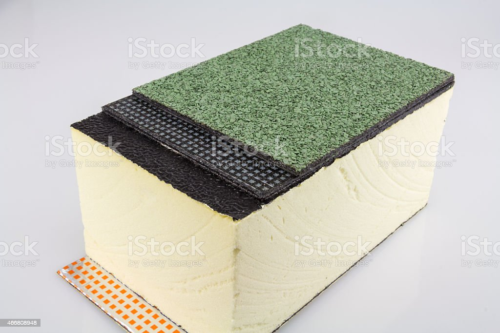 construction of a flat roof stock photo